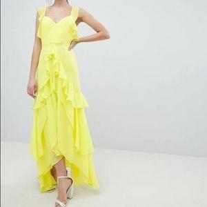 ASOS Design Ruffle Yellow Maxi Dress SZ 2
